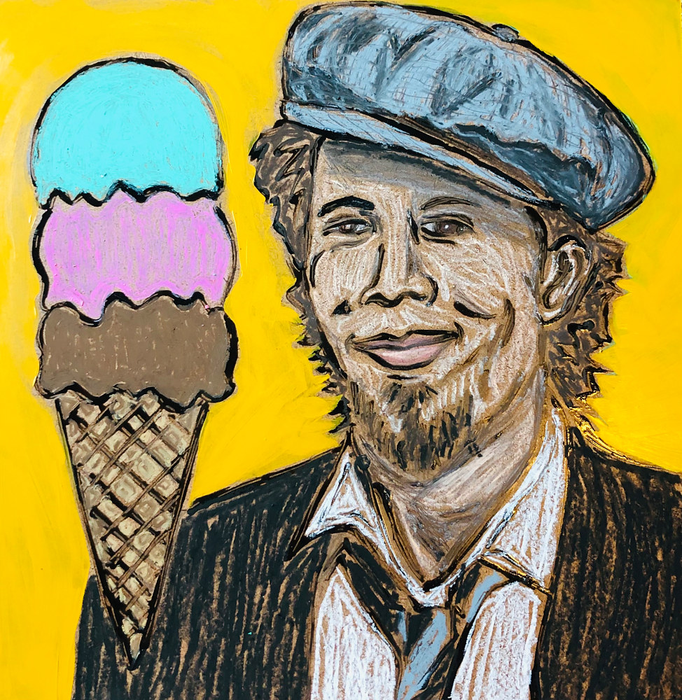 Mixed-media artwork Ice Cream Man by Kelly Schafer