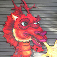 Acrylic painting Fire Breathing Dragon Cutout by Cody Blomberg