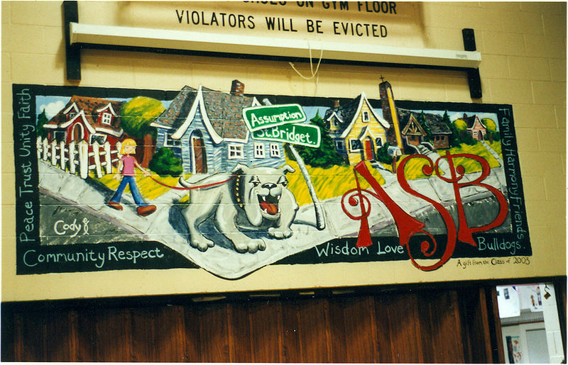 Assumption St. Bridget Elementary School Gym Mural by Cody Blomberg
