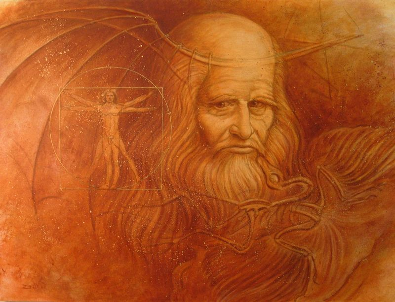 Oil painting Daedalus (Homage to da Vinci) by Sue Ellen Brown