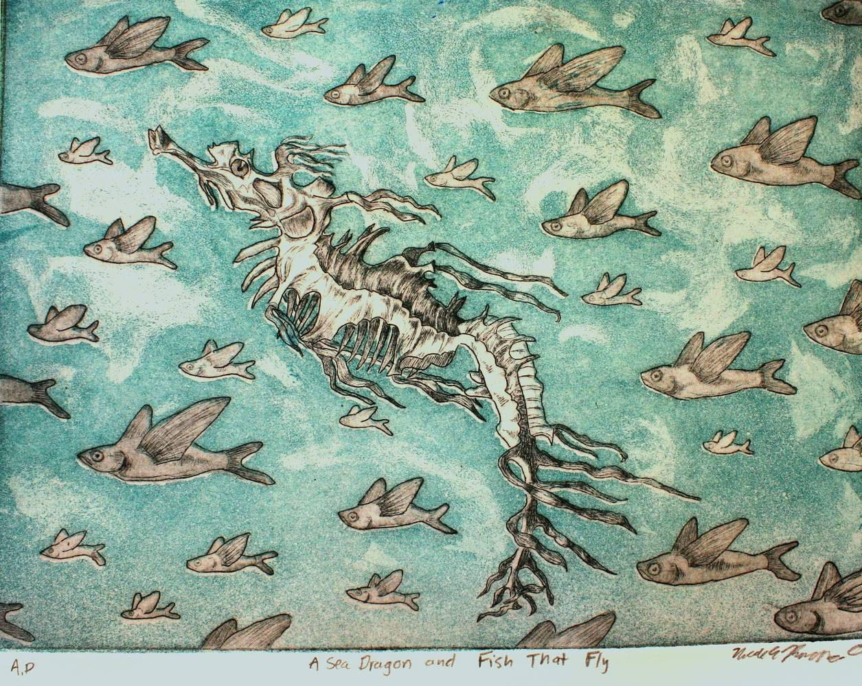 Print A Seadragon and Fish that Fly by Nicole Richards