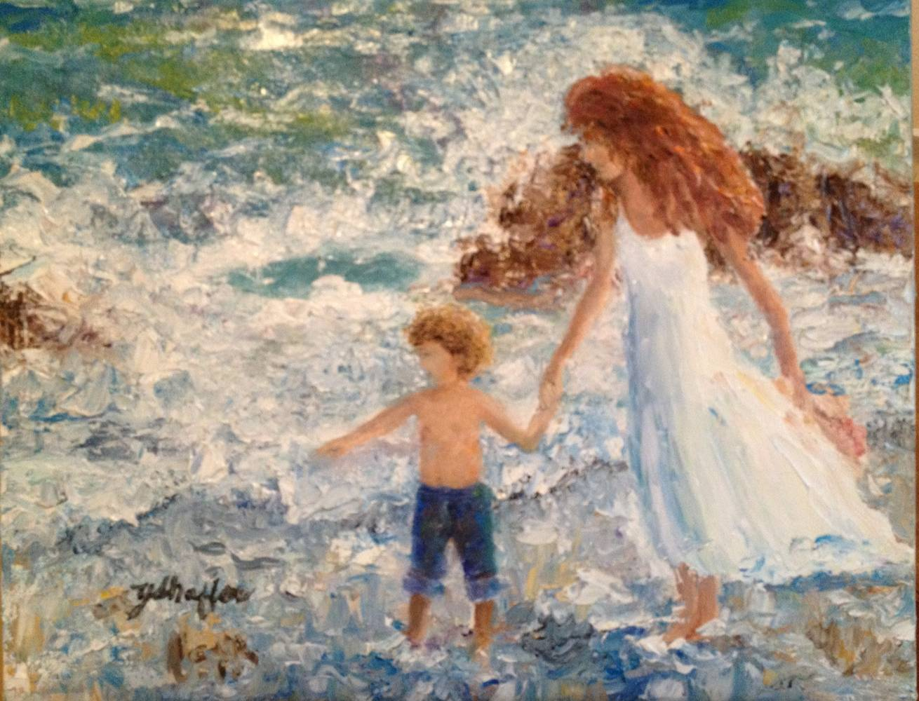 Oil painting Seaside Discoveries by Yvonne Shaffer