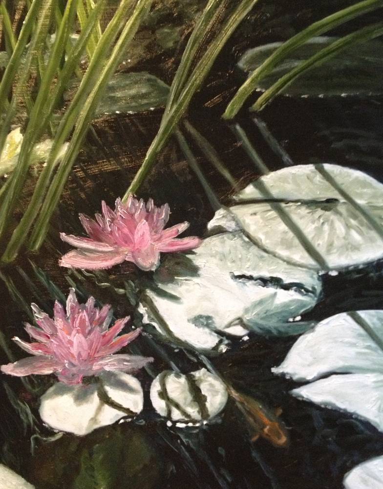 Oil painting Lily Pond by Yvonne Shaffer
