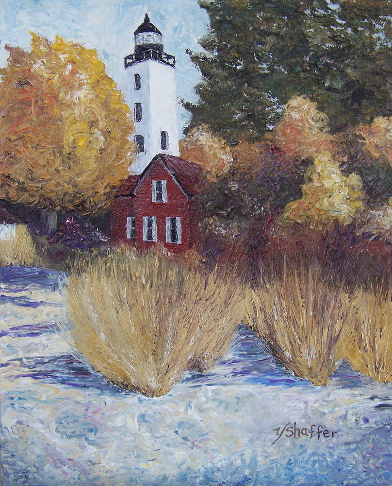 Oil painting Presque Isle Light House by Yvonne Shaffer