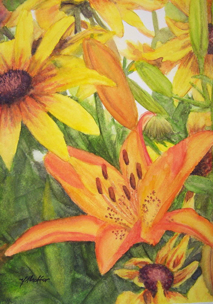 Watercolor Mid-Summer Blooms by Yvonne Shaffer