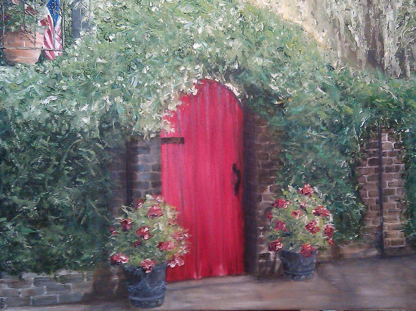 Oil painting Red Door Savannah by Yvonne Shaffer