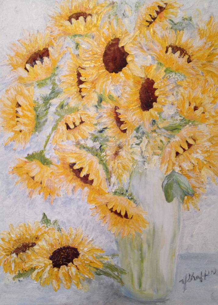 Oil painting Sunflower Sunshine by Yvonne Shaffer