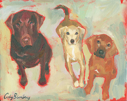 Oil painting Three Dogs by Cody Blomberg