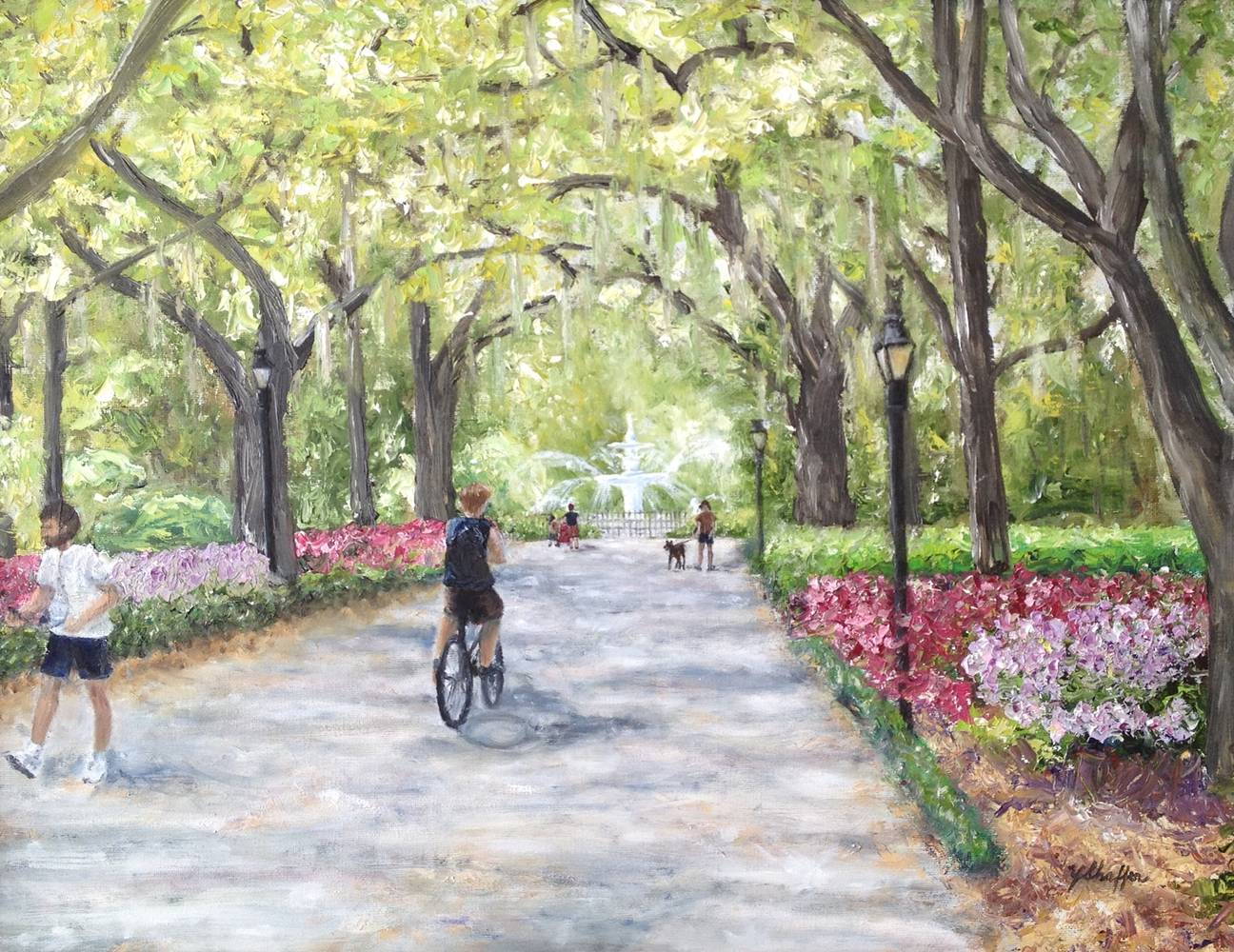 Oil painting Spring at Forsythe Park by Yvonne Shaffer