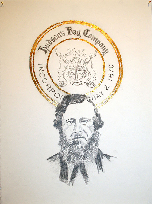 """William McKay and the HBC Crest"". Graphite and gold leaf on paper. 29 x 38 cm. 2011  by Belinda Harrow"