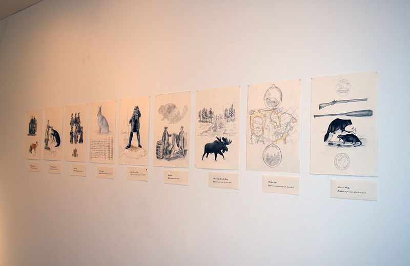 Installation view of The Trade drawings by Belinda Harrow