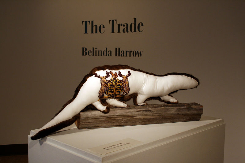 """Hudson Bay Company Otter"" 2011. Cotton, otter fur, beads, thread and wood. 24 x 70 x 12 cm by Belinda Harrow"