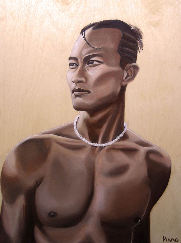 Oil painting Pacific Islander by Grace ann  Piano