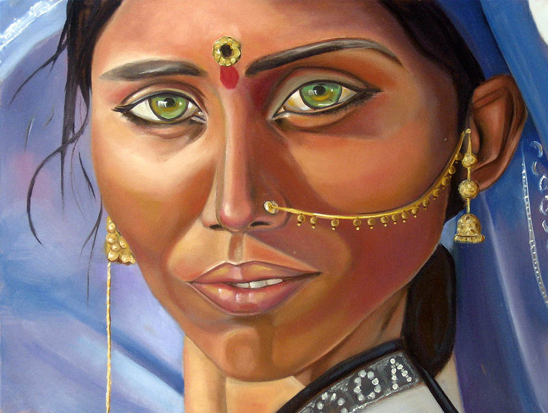 Oil painting Woman from India by Grace ann  Piano