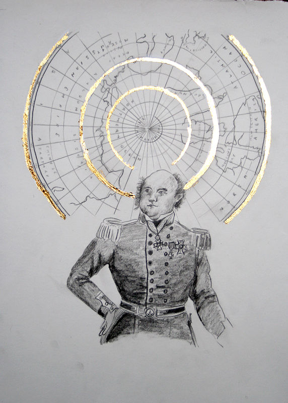 """Sir John Franklin"". Graphite and gold leaf on paper. 29 x 38 cm. 2011  by Belinda Harrow"
