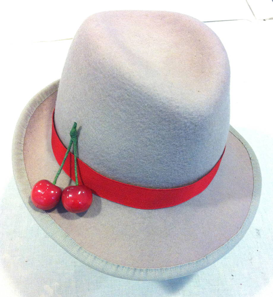Blush trilby with red trim and cherries by Fiona Menzies