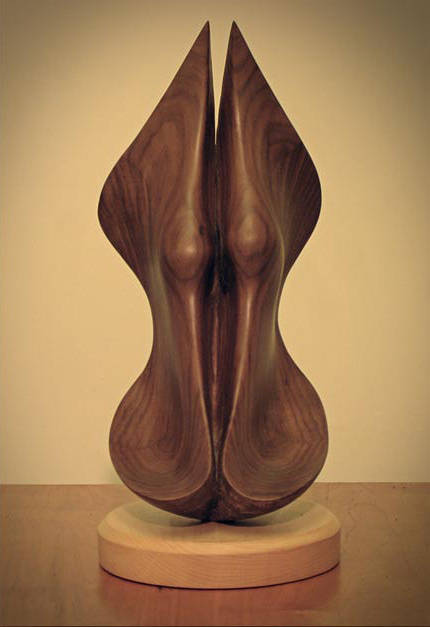Shell piece 1, Walnut - 10 x 6 x 12 inches by Larry Scaturro