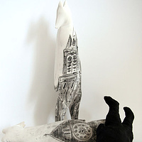 """Cathedral Bears"" 2008. Plaster, charcoal, cotton and batting. 45 x 8 x 8 cm each by Belinda Harrow"
