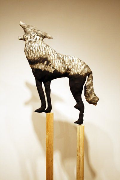 """Timberwolf II"" 2008. Cotton, charcoal, batting and douglas fir. 310 x 120 x 120 cm by Belinda Harrow"