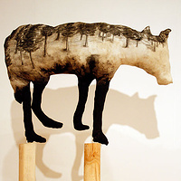 """Timberwolf V"" 2008. Cotton, charcoal, batting and douglas fir. 260 x 120 x 120 cm by Belinda Harrow"