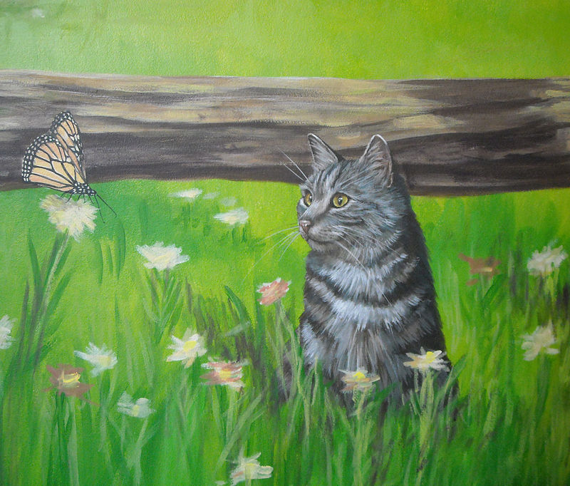 HORSE MURAL - CAT AND BUTTERFLY by Cindy Scaife