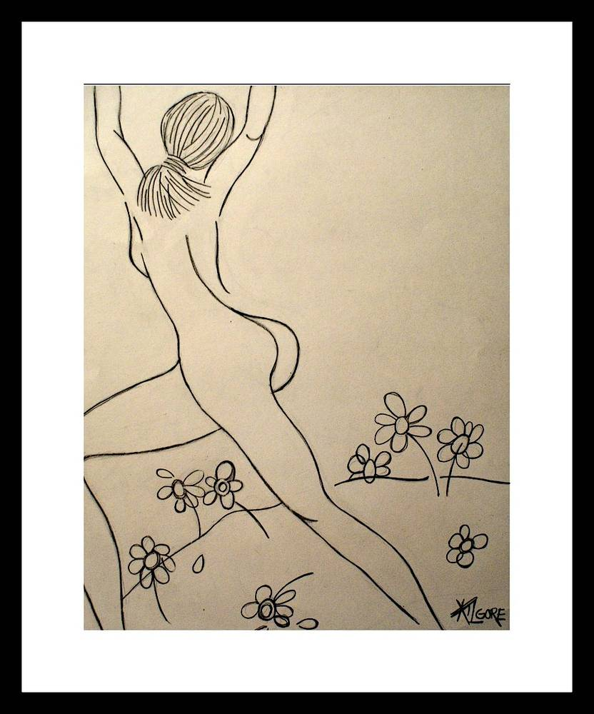 FEMALE NUDE WITH SCATTERED DAISIES -2012 by Michael Kilgore
