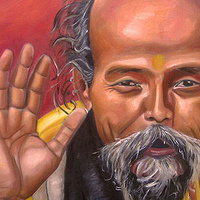 Oil painting Nepalese Monk by Grace ann  Piano