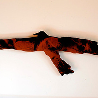 """Raven II"" (Gunbird) 2009. Cotton, thread and batting. 80 x 30 x 8 cm  by Belinda Harrow"