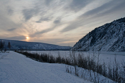 Klondike River - sunset at 3pm by Belinda Harrow