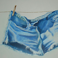 Laundry Room Mural Detail - Shorts by Cindy Scaife