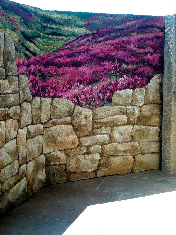 Painting Stone Wall with Field Mural - Balcony by Cindy Scaife