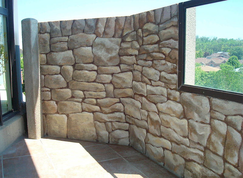 Painting Stone Wall Mural- Balcony by Cindy Scaife