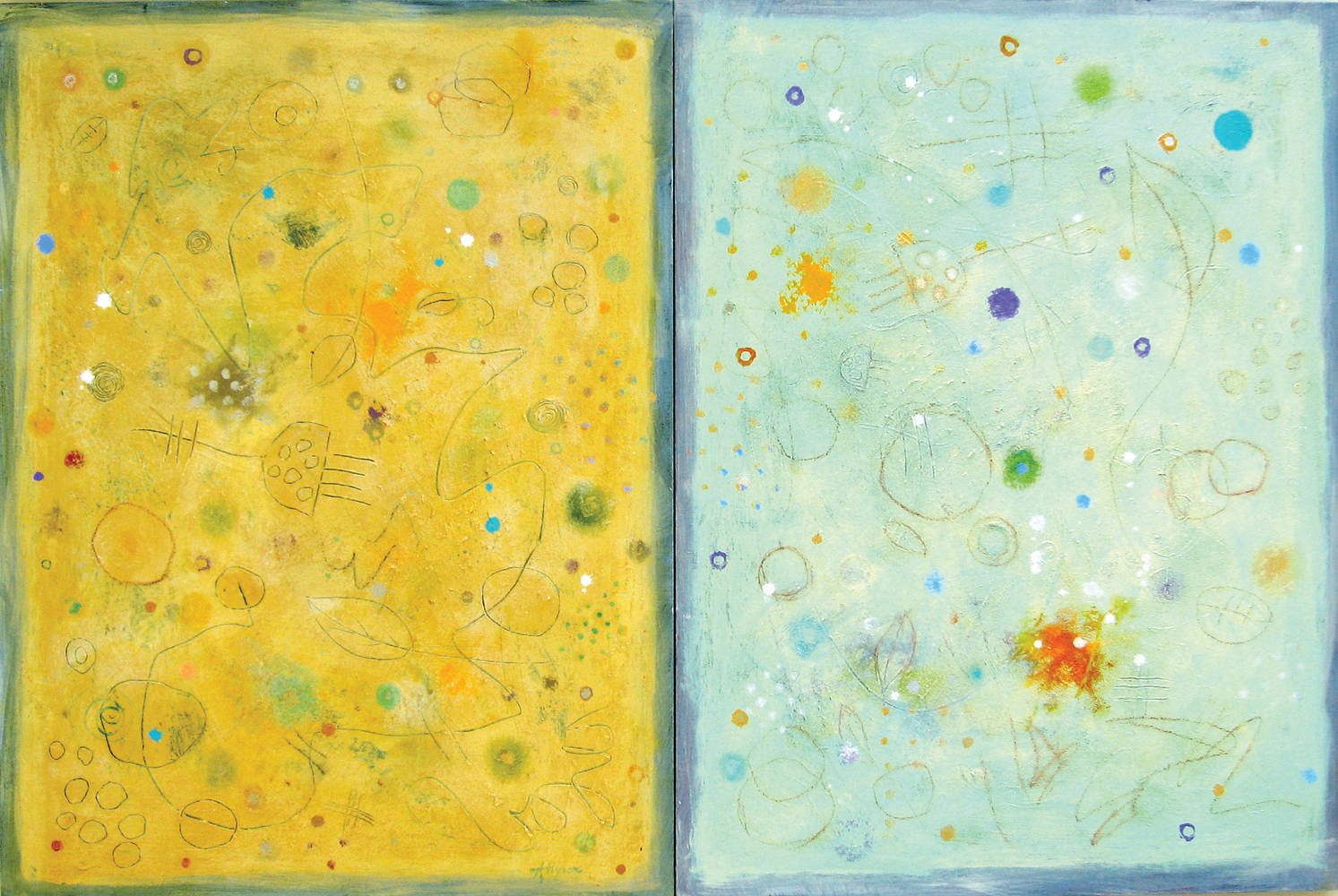Acrylic painting Maison Du Soleil - Diptych by Allyson Malek
