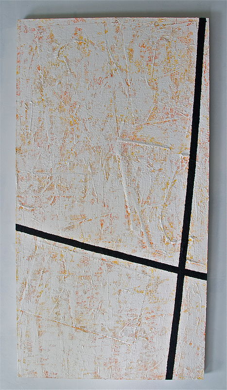 "Oil painting ORANGE, YELLOW, GOLD, BLACK: 2002. 72"" x 38"" by Suzanne Turner"