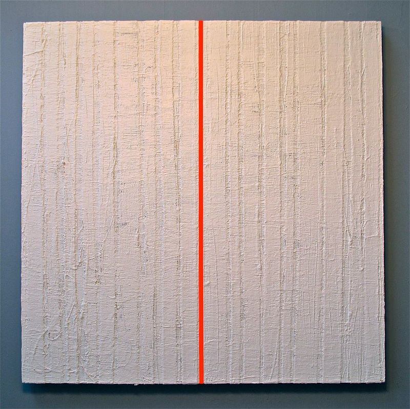 "Acrylic painting #1. Radiant Orange Red: 2012-2013. 36""x 36"" by Suzanne Turner"