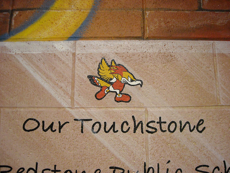 Redstone P.S. - Touchstone - Detailed image of hand painted logo and lettering by Cindy Scaife