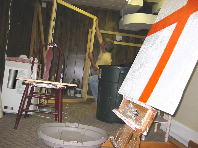 Stretching canvas. (Home basement studio) by John Turner