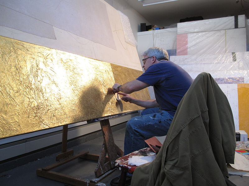 Putting down 24k gold leaf onto I, II,III. (Flourtown, studio) by John Turner