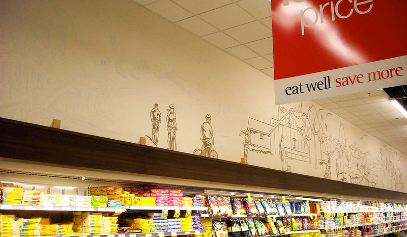 Painting Morrow Park Loblaws - Neighbourhood scene - progress image by Cindy Scaife