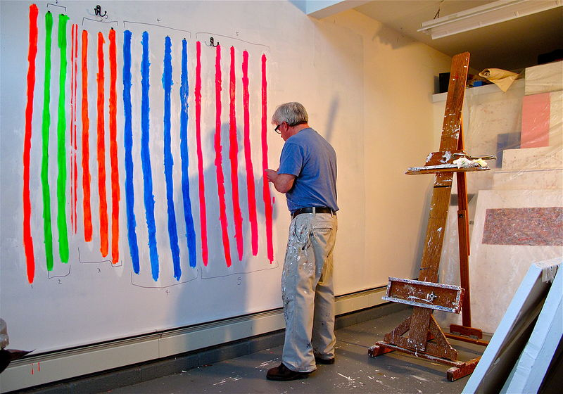 Painting polyester ribbons, for Radiant series. (Flourtown, studio) by John Turner