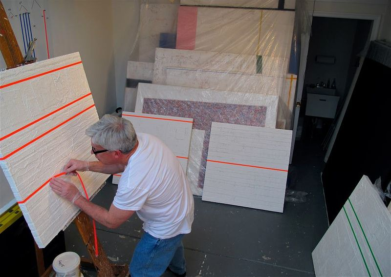 Placing painted polyerster strips onto #5. Radiant Pink. (Flourtown, studio) by John Turner
