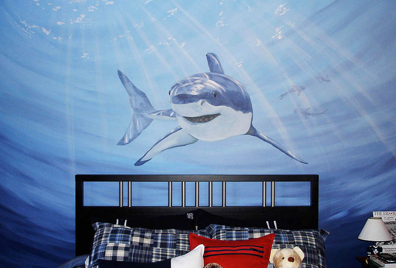 Painting Shark Mural by Cindy Scaife