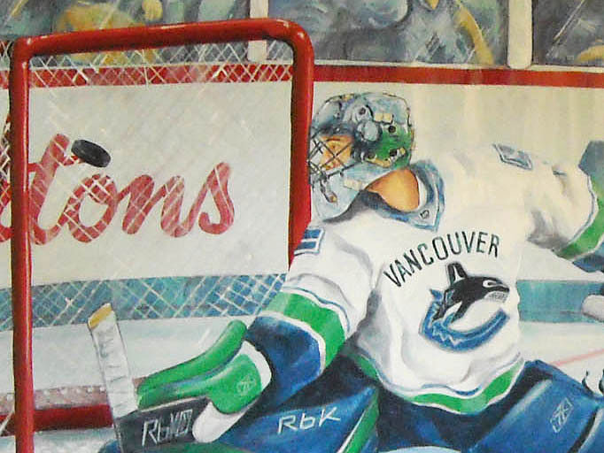 Painting Hockey Mural - Detail image of Goalie by Cindy Scaife