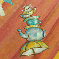 Painting CIRCUS MURAL - Detail image - Mouse in Tea Cups by Cindy Scaife