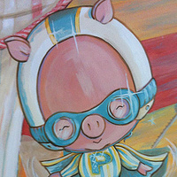 Painting CIRCUS MURAL - Detail image - Flying Pig by Cindy Scaife