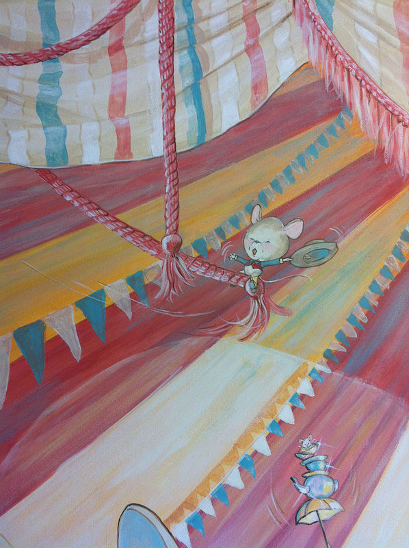 Painting CIRCUS MURAL - Detail image - Cowboy Mouse by Cindy Scaife