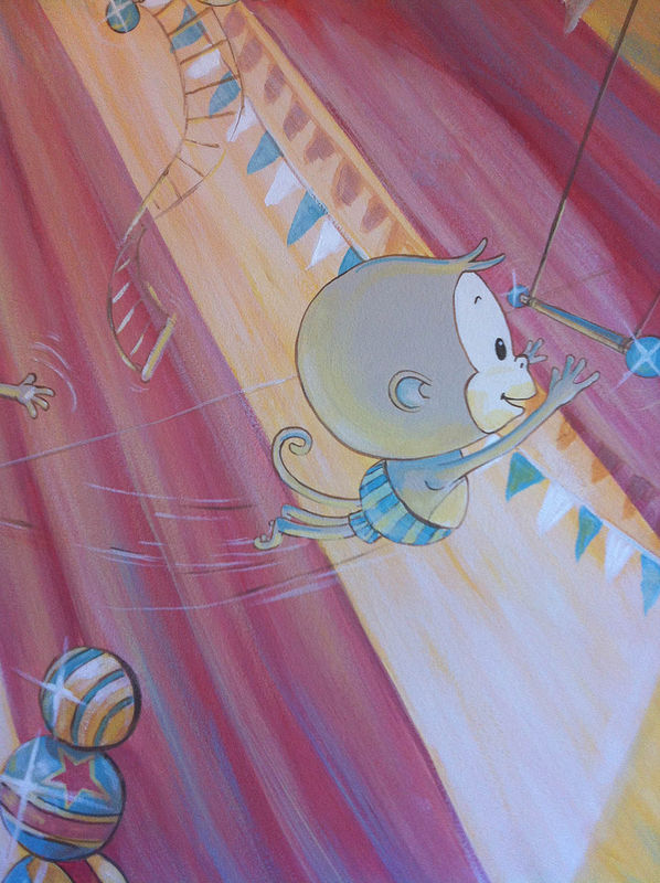Painting CIRCUS MURAL - Detail image - Flying Trapeze Monkey by Cindy Scaife