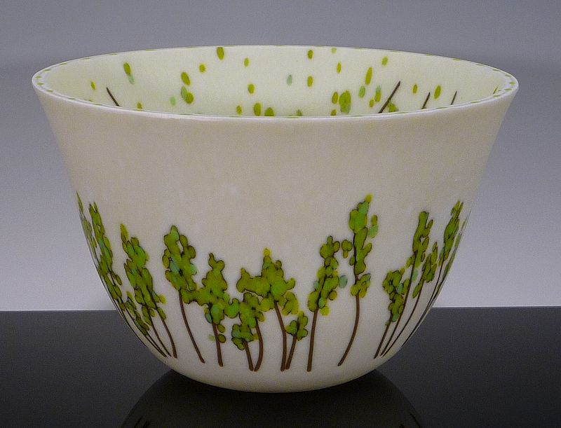 Kiln Formed Glass Deep Bowl Vessel Summer by Claudia Whitten
