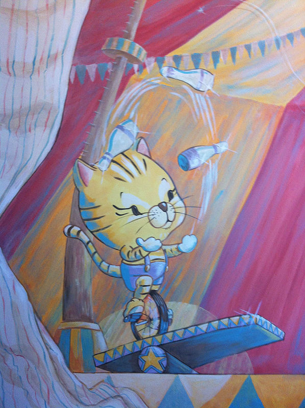 Painting CIRCUS MURAL - Detail image - Tiger by Cindy Scaife