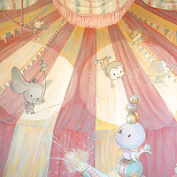 Painting CIRCUS MURAL - Full View Wall 1 by Cindy Scaife